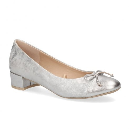 Caprice Low Heel Premium Leather Pumps - Silver