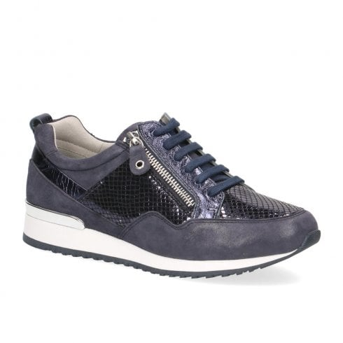 Caprice Leather Casual Comfort Lace Up Sneakers Shoes - Navy