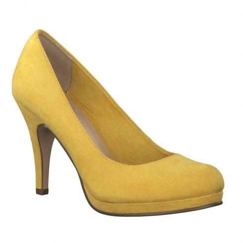 Tamaris Womens Yellow Suede Court Heels