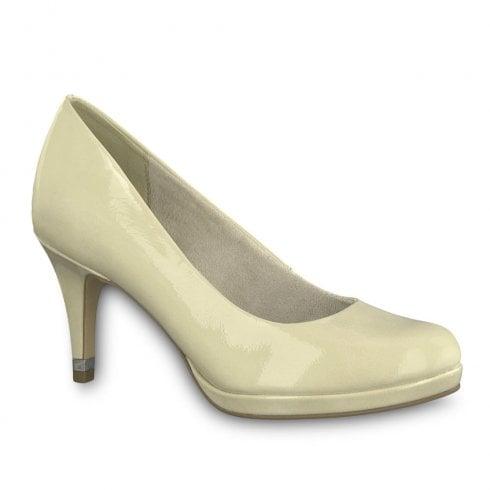 Tamaris Womens Jessa High Heel Court Shoes - Cream Patent