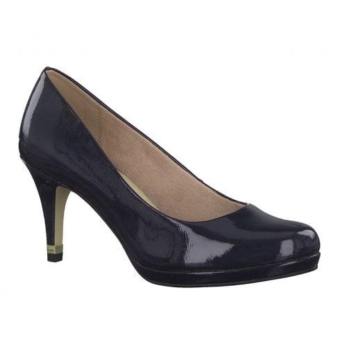 Tamaris Womens Jessa High Heel Court Shoes - Navy Patent
