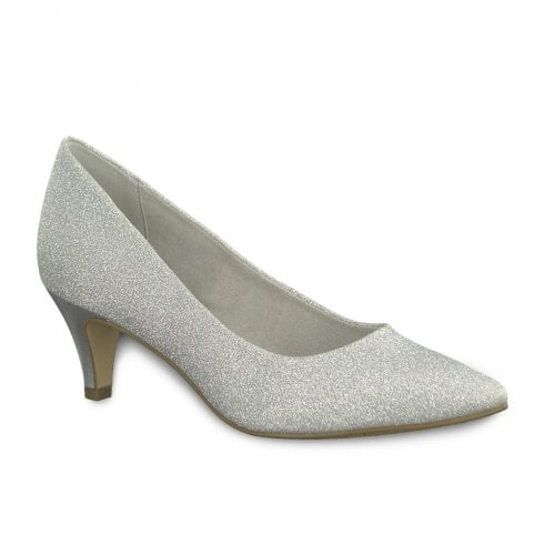 9ed63153b3a4d Tamaris Womens Mid Cone Court Shoes - Silver Glam / Millars Shoe Store