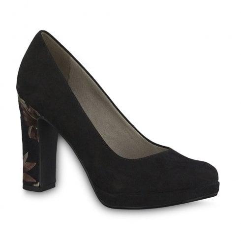 Tamaris Lycoris Elegant High Heel Court Shoes - Black Suede