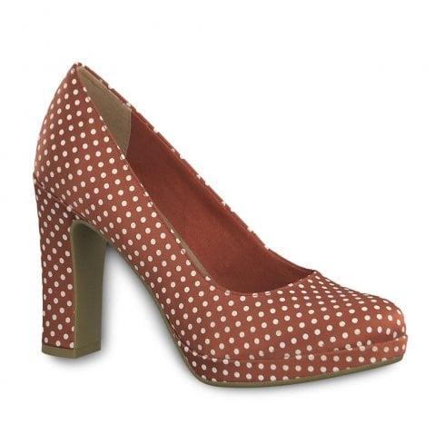 Tamaris Elegant Polka Dot High Heel Court Shoes - Red Dots