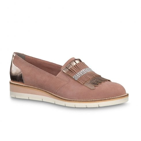 bce08a1883bf Tamaris Kela Womens Loafer Shoes - Old Rose Nubuck   Millars Shoe Store