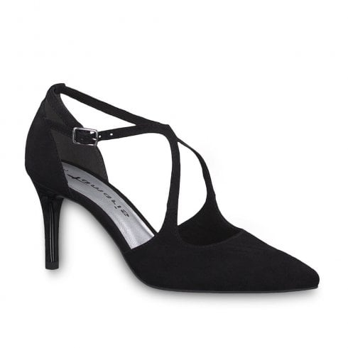 Tamaris Elegant High Heeled Court Shoes - Black Suede