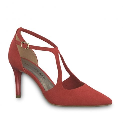 Tamaris Strappy High Heeled Court Shoes Lipstick Red Suede