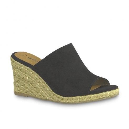 acda23efa79f4 Tamaris Womens Wedge Heele Mule Sandals - Black / Millars Shoe Store