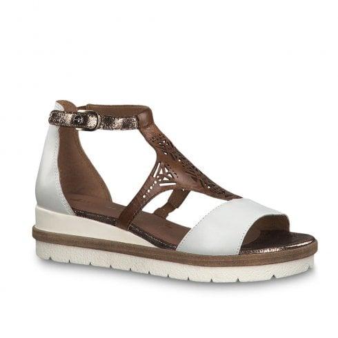 6d9a531b81b56 Tamaris Romanesques Low Wedge Heel T-bar Leather Sandals - White/Brown / Millars  Shoe Store