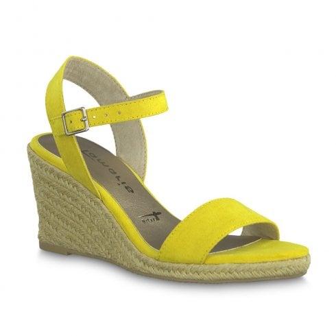 6fd761e412e1a Tamaris Livia Womens Nubuc Wedge Heeled Sandals - Yellow Sun / Millars Shoe  Store
