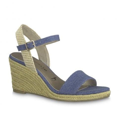 8a5ced666deb4 Tamaris Livia Womens Nubuc Wedge Heeled Sandals - Blue Jeans/Beige / Millars  Shoe Store
