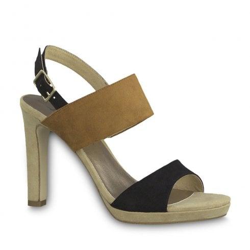 Tamaris Womens Suede High Heel Sandals - Black/Tan