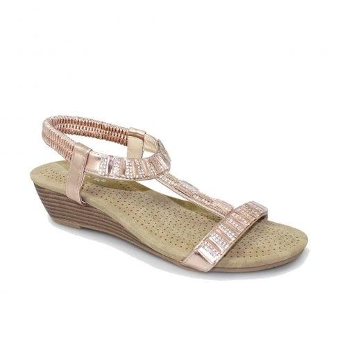 55028d64d137 Lunar Womens JLH877 Reynolds Low Wedge Sandals - Rose Gold