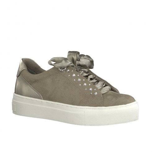 Marco Tozzi Womens Platform Ribbon Lace Up Shoes - Pepper Taupe