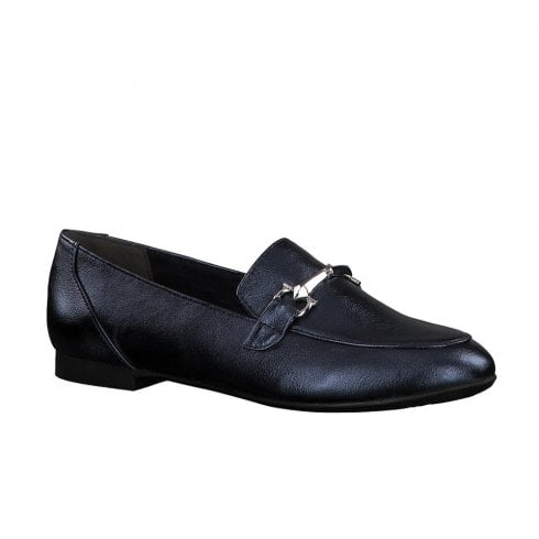 Marco Tozzi Slip On Flat Loafers Shoes - Navy Metallic
