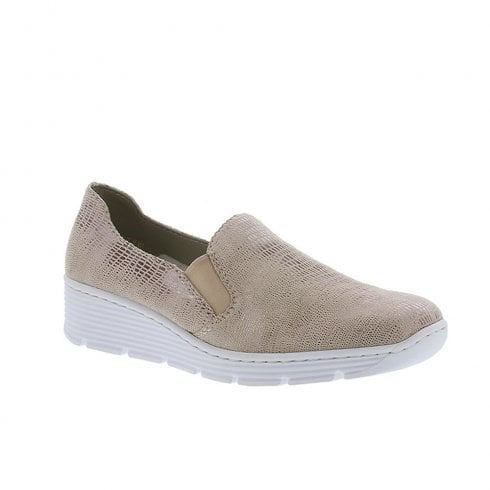 Rieker Womens Elasticated Wedge Heeled Moccasins Shoes - Beige Golden