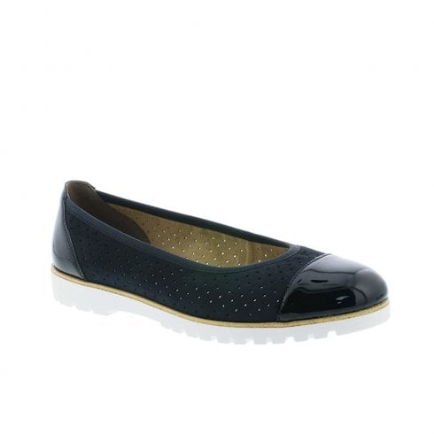 Rieker Womens Slip On Comfort Ballerina Pumps Shoes - Navy
