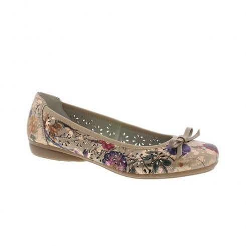 Rieker Womens Slip On Floral Ballerina Pumps Shoes - Rose/Multi