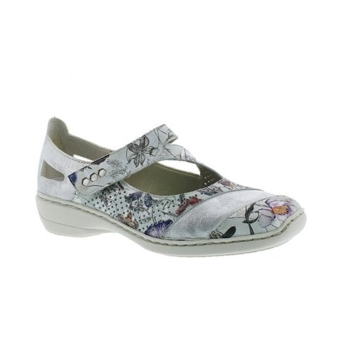 Rieker Womens Mary Jane Strap Wedge Shoes - Off White Floral