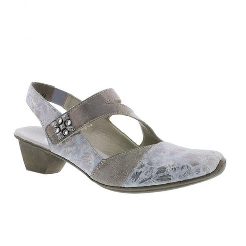 Rieker Womens Leather Casual Slingback Shoes - Grey Metallic Beige