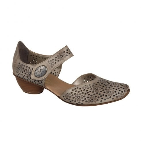 Rieker Womens Leather Casual Mary Jane Shoes - Beige Taupe