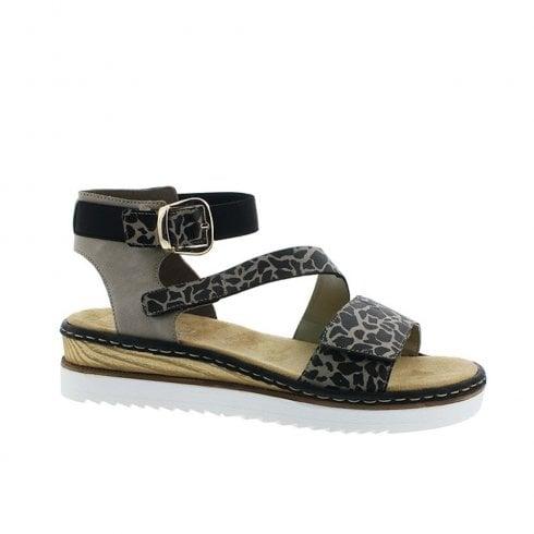 4703b9216 Rieker Womens Flat Leopard Patterned Ankle Strap Sandals - Brown Black    Millars Shoe Store