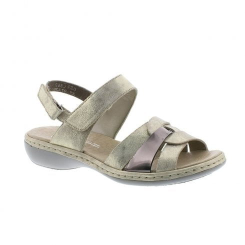 Rieker Womens Flat Wedge Slingback Leather Sandals - Gold