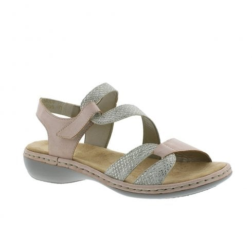Rieker Womens Flat Wedge Velcro Strap Sandals - Rose/Silver