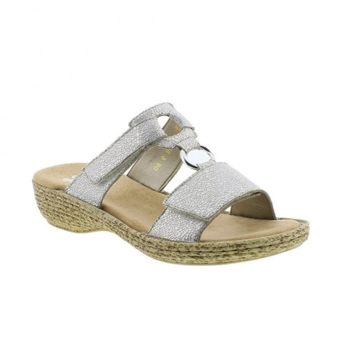 Rieker Womens Flat Wedge Slip On Mule Sandals - Silver