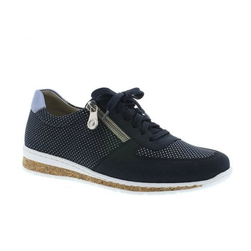 Rieker Womens Lace Up Cork Sole Trainers Shoes - Navy