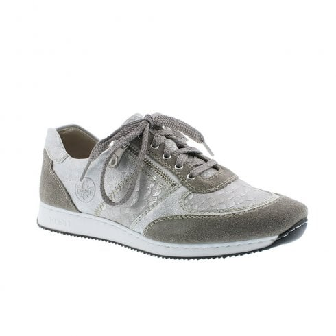b494c0d2752ea7 Rieker Womens Leather Lace Up Side Zip Trainers Shoes - Grey Silver    Millars Shoe Store