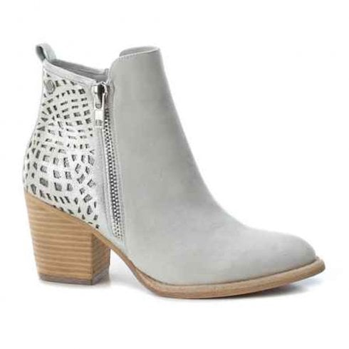 Xti Womens Block Heeled Side Zipper Ankle Boots , Grey 48928