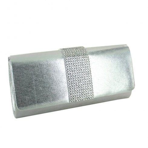 Menbur Silver Metallic Clutch Bag