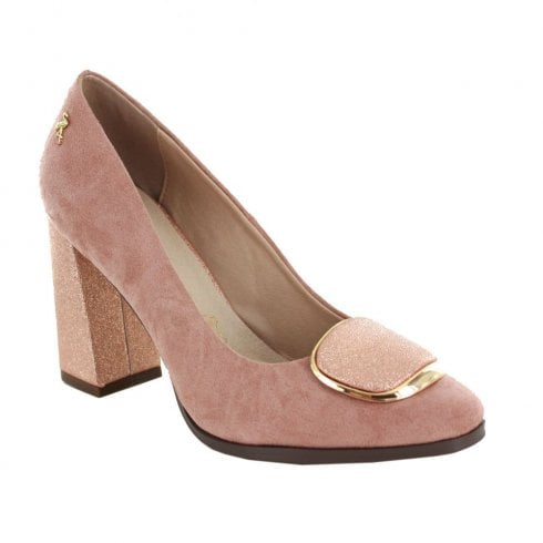 Menbur Suede Court Block Heel Shoes - Nude