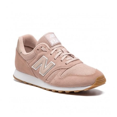 new product 49677 c90af New Balance Womens 373 Lace Up Suede Sneakers - Peach