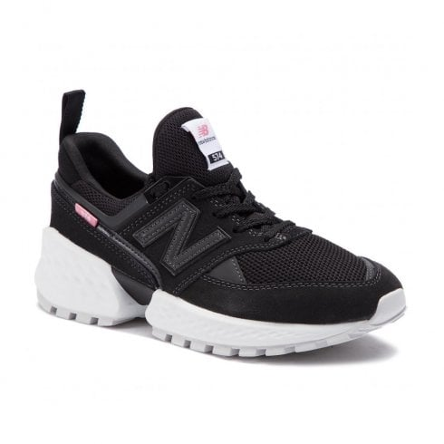 New Balance Womens 574 White Chunky Sneakers - Black