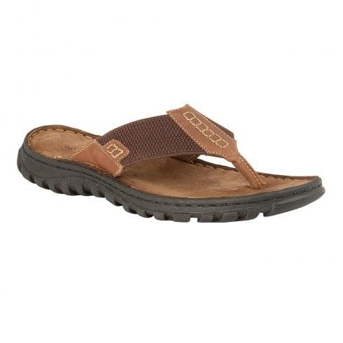 Lotus Mens Ainsley Leather Toe Post Flip Flops Sandals - Tan