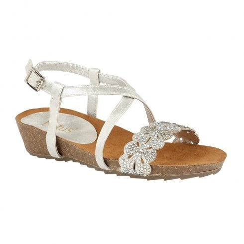 Lotus Womens Sienna Low Wedge Sandals - Silver Glitz