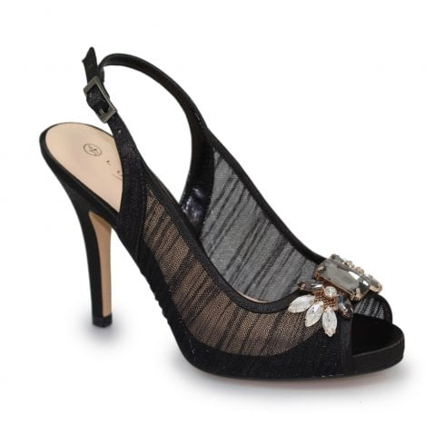Lunar Amalfi Sling Back Peep Toe High Heels - Black