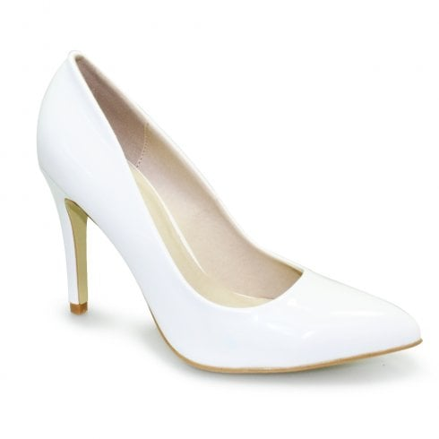 Lunar Powell II Court High Heel Pointed Toe Shoes - White