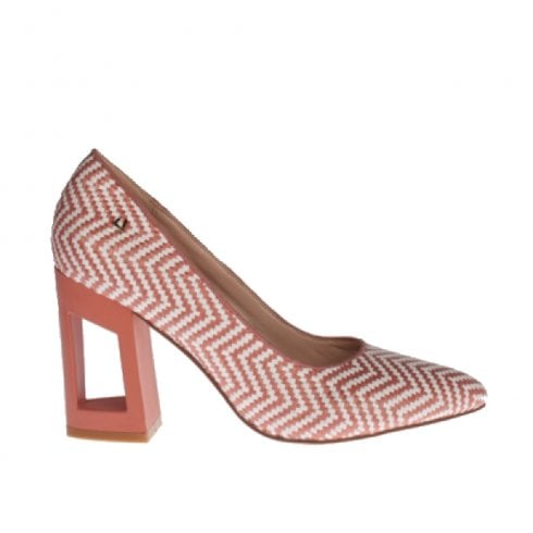 Una Healy Chick Fit Block Heeled Summer Court Shoes - Peach Zig Zag
