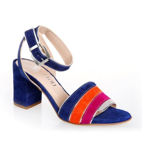 Nicola Sexton 4658B Navy Multi Block Heeled Ankle Strap Sandals