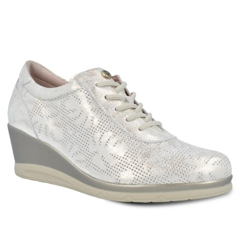 Pitillos Womens Wedge Sneakers Shoes - Off White/Gold Shimmer