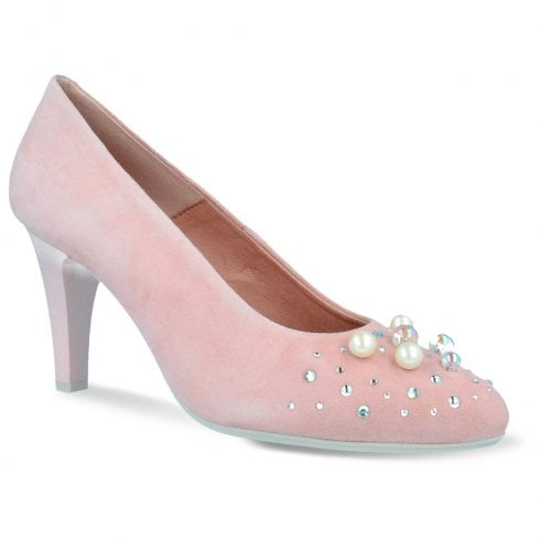 Pitillos Womens Pearls High Heel Court Shoes - Nude