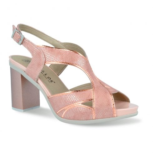 Pitillos Womens Slingback Buckle Block Heel Sandals - Rose Gold