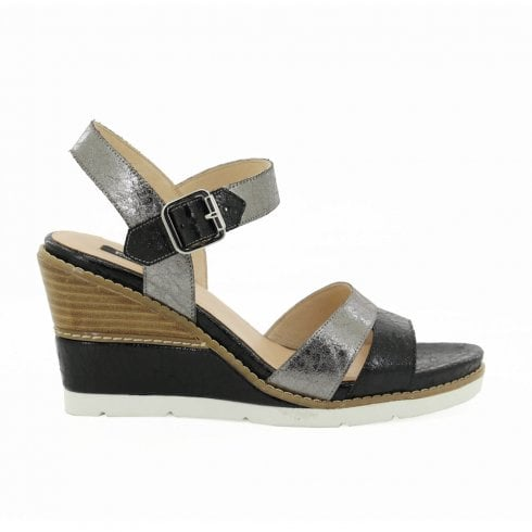 3d95615a5aed9 Fugitive Ister High Heeled Wedge Sandals - Black/Silver / Millars Shoe Store