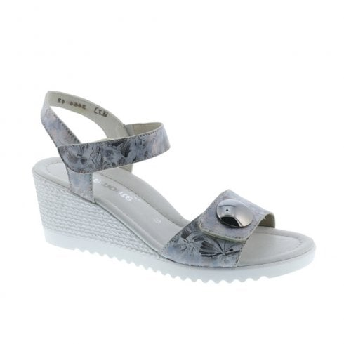 d8ff0b0d8fd737 Remonte D3464-42 Ladies Metallic Grey Combination Wedge Heeled Sandals /  Millars Shoe Store