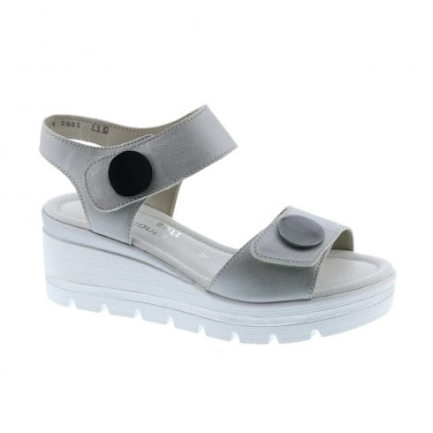 aebc05974954 Remonte D1565-90 Ladies Buttons Silver Wedge Heeled Sandals   Millars Shoe  Store