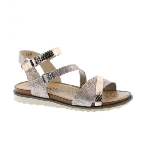 Remonte R2750-31 Ladies Double Buckle Metallic Shimmer Low Flat Wedge Sandals