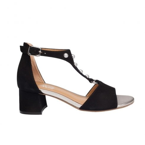 Regarde Le Ciel Catty 01 Leather Ankle Buckle T-bar Medium Block Sandals - Black Suede